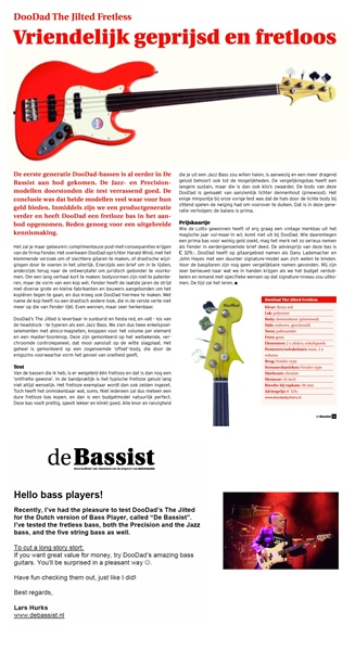 "DUTCH MAGAZINE ""De Bassist"" (Bass-player) tested the DooDad Jilted Fretless"